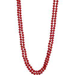 Jones New York Red Glass Bead Long Necklace