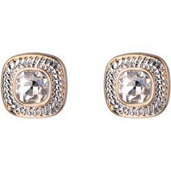Jones New York Square Crystal Post Back Earrings
