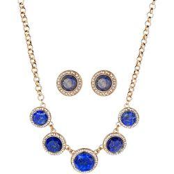 Jones New York Blue Marble Cabochon Necklace Set