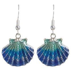 PIPER MADISON Aqua Blue Seashell Drop Earrings