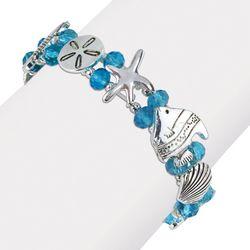 PIPER MADISON Aqua Blue Bead Sea Life Stretch Bracelet