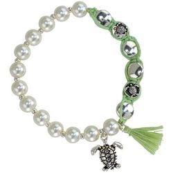 PIPER MADISON Sea Turtle Faux Pearl Tassel Stretch Bracelet
