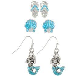 PIPER MADISON 3-pc. Aqua Blue Coastal Earring Set