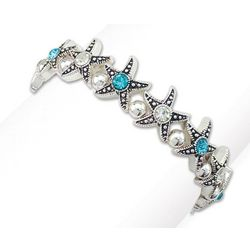 PIPER MADISON Clear & Blue Rhinestone Starfish Bracelet