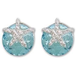 PIPER MADISON Aqua Blue & Silver Tone Starfish Earrings