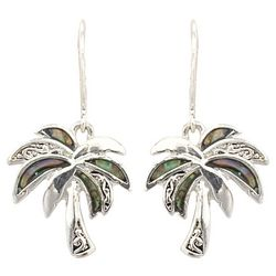PIPER MADISON Palm Tree Abalone Dangle Earrings