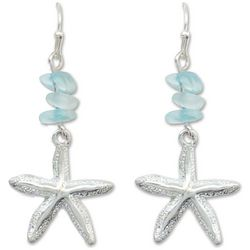 PIPER MADISON Blue Beads Silver Tone Starfish Earrings