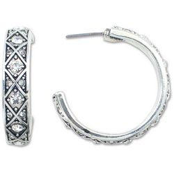 PIPER MADISON Crystalite Silver Tone Hoop Earrings