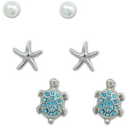 PIPER MADISON Sea Turtle Starfish Faux Pearl Earring Set