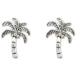PIPER MADISON Silver Tone Palm Tree Stud Earrings