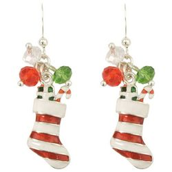 PIPER MADISON Holiday Striped Stocking Earrings