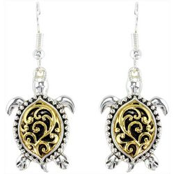 PIPER MADISON Two Tone Filigree Sea Turtle Earrings