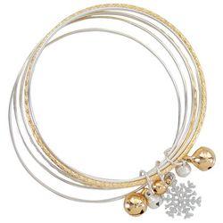 PIPER MADISON Two Tone Holiday Charm Bangle Bracelet