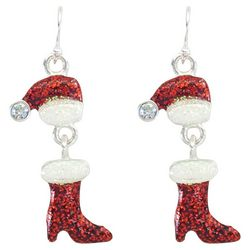 PIPER MADISON Mrs. Claus Glittery Hats & Boots Earrings