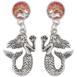 PIPER MADISON Mermaid Pink Scales Drop Earrings