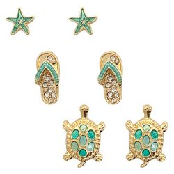 PIPER MADISON 3-pc. Coastal Gold Tone Earring Set