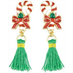 PIPER MADISON Candy Cane Green Tassel Post Earrings