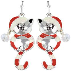 PIPER MADISON Holiday Candy Cane Kitty Earrings