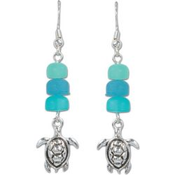 PIPER MADISON Sea Glass Beads Sea Turtle Earrings