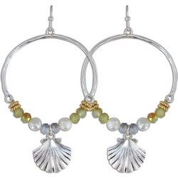 PIPER MADISON Beaded Hoop Shell Drop Earrings