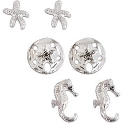 PIPER MADISON Silver Tone Seahorse 3-pc. Earring Set