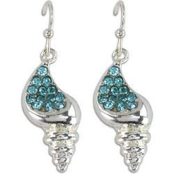 PIPER MADISON Blue Rhinestones Shell Earrings