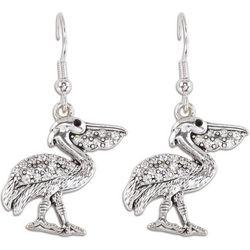 PIPER MADISON Silver Tone Rhinestone Pelican Drop Earrings