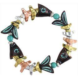 PIPER MADISON Tri Tone Beaded Fish Bracelet