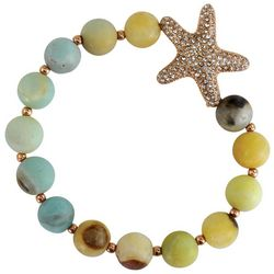 PIPER MADISON Pave Rhinestone Starfish & Beaded Bracelet