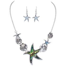 PIPER MADISON Abalone Shell Starfish Coastal Necklace Set