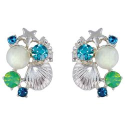 PIPER MADISON Coastal Opal Stone Seashell Earrings