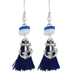 PIPER MADISON Anchor & Navy Blue Tassel Dangle Earrings