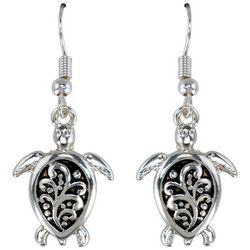 PIPER MADISON Silver Tone Filigree Sea Turtle Earrings