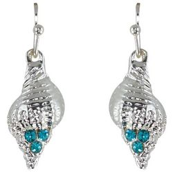 PIPER MADISON Aqua Blue Rhinestone Conch Shell Earrings