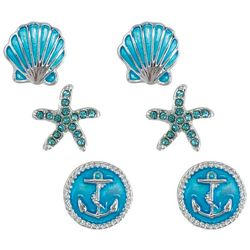 PIPER MADISON 3-pc. Coastal Aqua Blue Stud Earring Set
