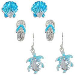 PIPER MADISON Aqua Blue Coastal Sea Turtle Earring Set