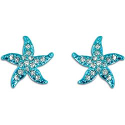 PIPER MADISON Aqua Blue Pave Rhinestone Starfish Earrings