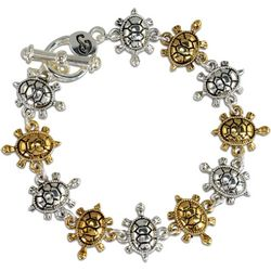 PIPER MADISON Two Tone Turtle Toggle Bracelet
