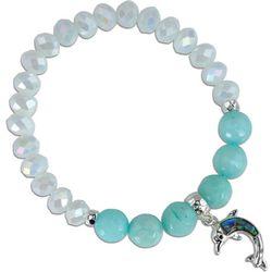 PIPER MADISON Aqua Blue Beaded Dolphin Charm Bracelet