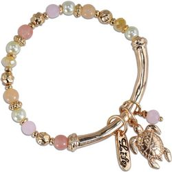 PIPER MADISON Rose Gold Tone Sea Turtle Beaded Bracelet
