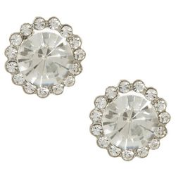 Socialize Glass Rhinestone Halo Post Earrings