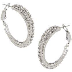 Socialize Double Row Crystal Twist Hoop Earrings