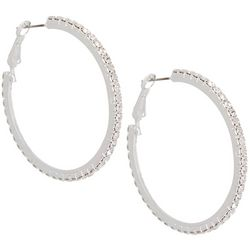 Socialize Pave Rhinestone Hoop Earrings