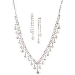 Socialize Multi Crystal Drop Necklace & Earring Se