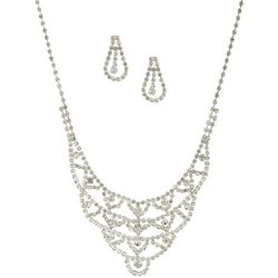 Socialize Crystal Scallop Necklace & Earring Set