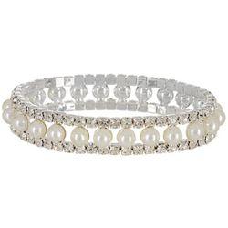 Socialize Crystal & Pearl Cabochon Stretch Bracele