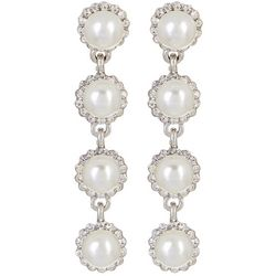 Socialize Faux Pearl Halo Linear Dangle Earrings