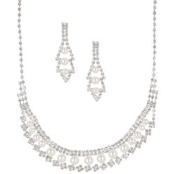 Socialize Crystal & Pearl Swag Front Necklace Set