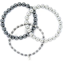 Roman 3 Row Multi Grey Pearl Stretch Bracelet