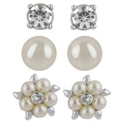 Roman Cream Three Pair Stud Earring Set